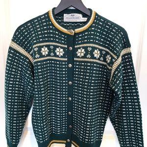 Susan Bristol 100% Wool Fair Isle Cardigan Sweater